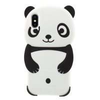 Panda Hoesje Silicone iPhone XS Max - Zwart case