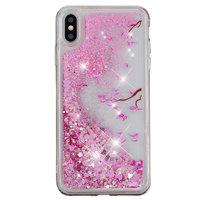 Bewegend Glitter Poeder TPU Case iPhone XS Max - Bloem hoesje