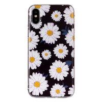 Prachtige Bloemen TPU hoesje iPhone X XS - Madeliefjes zwart