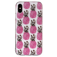 Roze ananassen TPU hoesje iPhone X XS cover - Wit Case