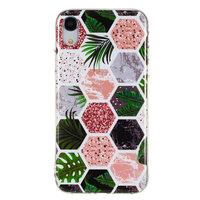 Zeshoeken Print Zacht TPU hoesje iPhone XR cover - Bladeren en Marmer