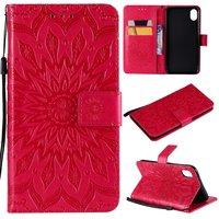 Zonnebloem patroon Leren Wallet Bookcase iPhone XR hoesje - Rood standaard