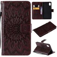 Zonnebloem patroon Leren Wallet Bookcase iPhone XR hoesje - Bruin standaard