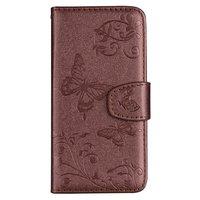 Vlinder Bloemen patroon Leren Wallet Bookcase iPhone XR hoesje - Pasjes Spiegel Bruin