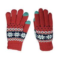 Winter Touchscreen Gebreide Handschoenen - Sneeuwvlokken Rood