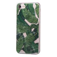 Glitter Poeder hoesje TPU iPhone 8 7 - Groene Bladeren