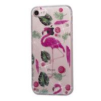 Glitter Poeder hoesje TPU iPhone 8 7 - Flamingo's en Bladeren