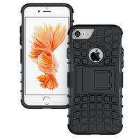 Zwarte hybride standaard case iPhone 7 8 hoesje cover shockproof
