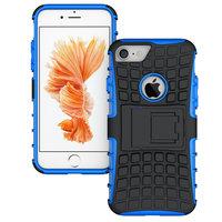 Blauw zwarte hybride standaard case iPhone 7 8 hoesje cover shockproof
