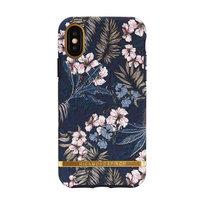 Richmond & Finch Floral Jungle Gold details case iPhone X hoesje - Blauw