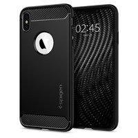 Spigen Rugged Armor bescherming hoesje iPhone XS Max - zwart case carbon fiber