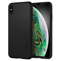 Spigen Thin Fit 360 Case hoesje tempered Glass Screen Protector iPhone XS Max Zwart