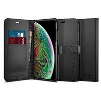 Spigen Wallet S iPhone XS Max Kunstleder Bookcase - Zwart