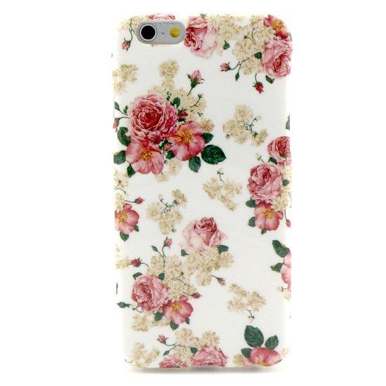Wit roze rozen bloemen klassiek iPhone 6 6s hoesje case cover
