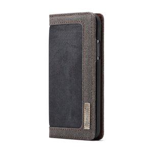 Caseme Canvas Wallet Bookcase iPhone XS Max - Bruin Zwart