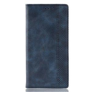 Vintage Wallet Stijl Kunstleer leder Cover Case iPhone XS Max hoesje - Blauw