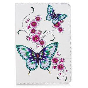 Vlinders bloemen flipcase leder klaphoes standaard iPad mini 4 5 - Wit