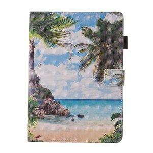 Strand tropisch eiland flipcase leder hoes iPad mini 1 2 3 4 5 - Blauw Groen