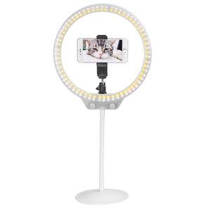 Zomei Selfielamp dimbaar 3 kleuren licht smartphone standaard vlogger - Wit