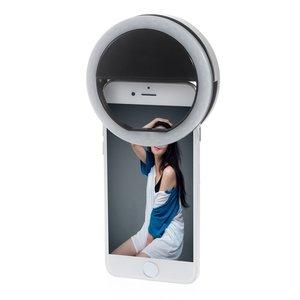 Selfie licht ringvormige lamp smartphone dimbaar - Zwart