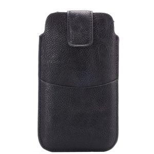 Lychee Lederen Textuur Universele telefoon Pouch insteekhoesje 5.5-inch - 6.0-inch - Zwart