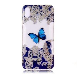iPhone X XS TPU hoesje Transparant - Blauw Wit