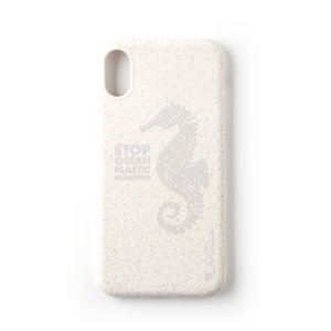 Wilma Stop Plastic Case Biologisch Afbreekbaar Beschermend Hoesje Zeepaardje iPhone X XS - Wit