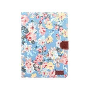 Wallet Portemonnee Hoes Case Flowerprint Bloemenstofpatroon Kunstleer voor iPad 10.2 inch - Blauw
