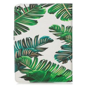 Wallet Portemonnee Hoes Case Kunstleer Natuur Bladeren Jungle voor iPad 10.2 - Groen
