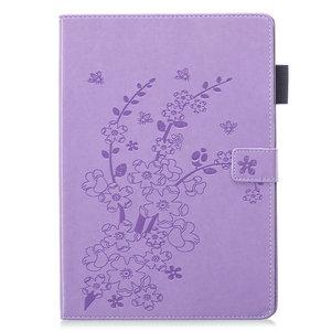 Wallet Portemonnee Hoes Case Kunstleer Natuur Bloesem Pruimenbloesem voor iPad 10.2 - Paars