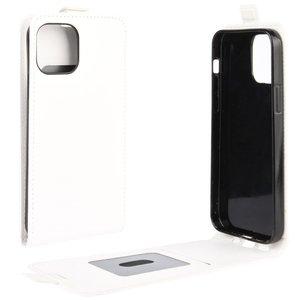 Flip case kunstleer hoesje voor iPhone 12 en iPhone 12 Pro - wit