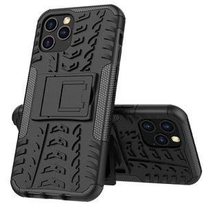 Shockproof kunststof en schokabsorberend TPU hoesje voor iPhone 12 en iPhone 12 Pro - zwart