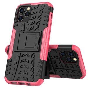 Shockproof kunststof en schokabsorberend TPU hoesje voor iPhone 12 en iPhone 12 Pro - zwart met roze