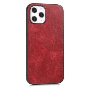 Leather Look kunstleer hoesje voor iPhone 12 en iPhone 12 Pro - rood
