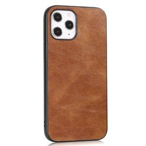 Leather Look kunstleer hoesje voor iPhone 12 en iPhone 12 Pro - bruin