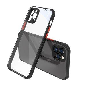 Clear kunststof hoesje voor iPhone 12 en iPhone 12 Pro - transparant met zwart