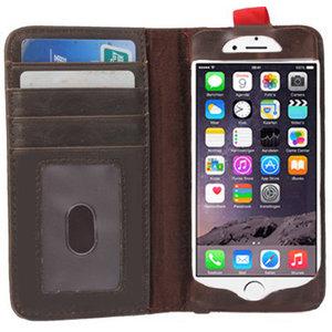 Bookcase hoesje iPhone 6 Plus 6s Plus Wallet Boek lederen bruin
