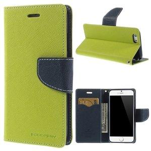 Gekleurde Leren Portemonnee.Origineel Mercury Goospery Groene Wallet Bookcase Hoesje Iphone 6 6s