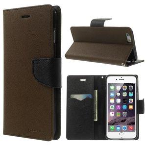 Mercury Goospery Bookcase hoesje iPhone 6 Plus 6s Plus Wallet case Bruin zwart portemonnee