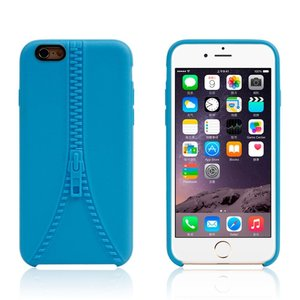 Stevig hoesje met imitatie rits iPhone 6 6s Blauwe silicone case