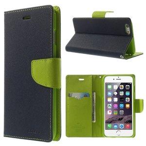 Mercury Goospery blauwe wallet Bookcase iPhone 6 Plus 6s Plus Donkerblauw lederen portemonnee hoesje