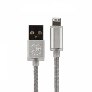 Echo IronWire MFi Lightning kabel 1,5 meter Nylon oplaadkabel Zilver LED