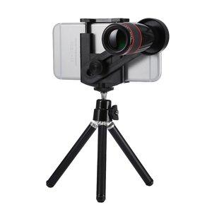 Universele Telelens 12x optische zoom iPhone lens - Statief - Tripod - Zwart