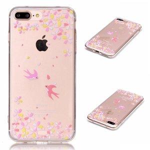 Doorzichtig TPU hoesje met vogels iPhone 7 Plus 8 Plus Roze gele bloemen