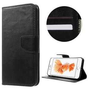 Wallet zwart Bookcase hoesje iPhone 7 Plus 8 Plus Portemonnee Lederen cover