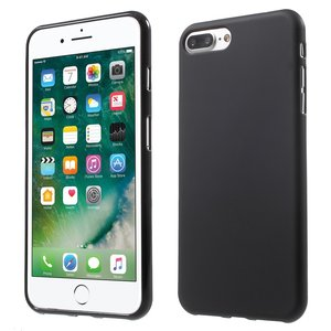 Zwart silicone hoesje iPhone 7 Plus 8 Plus Black cover Effen gekleurd