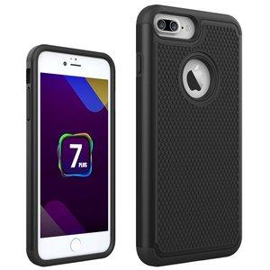 Zeer stevig tweedelig hoesje iPhone 7 Plus 8 Plus Zwarte nopjes Silicone Hard case