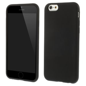 Silicone zwart hoesje iPhone 6 / 6s Glimmend effen Black cover