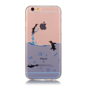 Doorzichtig pinguin hoesje iPhone 6 6s TPU silicone cover zee transparant blauw