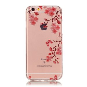 Bloesem TPU iPhone 6 6s hoesje cover - Doorzichtig - Bloemtakken